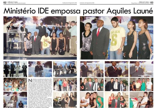 Festiva a posse do pastor Aquiles Launé na Batista Maria Ortiz