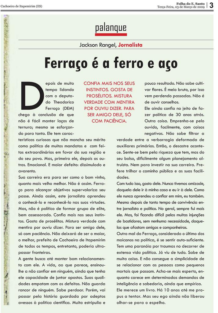 ANÁLISE SUPERFICIAL SOBRE O DEPUTADO FERRAÇO