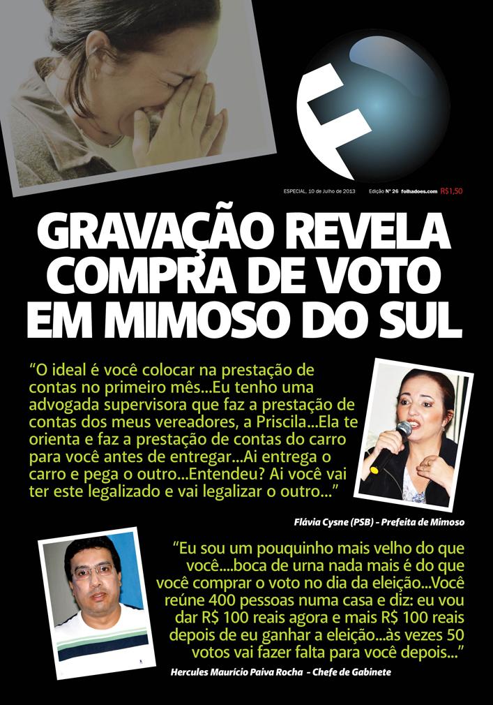 Prefeita de Mimoso-ES flagrada comprando voto