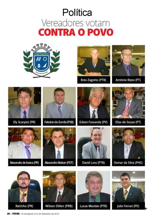 13 Vereadores de Cachoeiro votaram contra a CPI