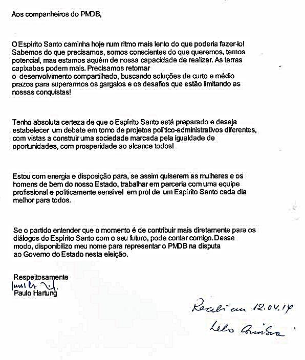 A carta de Paula Hartung que confirma a previsão deste jornalista