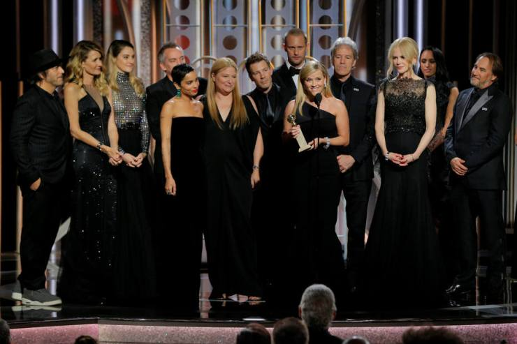 """Reese Witherspoon holds the award for Best Television Limited Series or Motion Picture Made for Television for """"Big Little Lies"""", HBO, at the 75th Golden Globe Awards in Beverly Hills"""